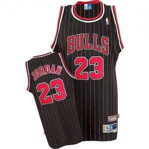 Men's Chicago Bulls Michael Jordan Black/Red Authentic Strip Throwback Jersey