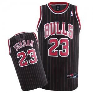 Men's Chicago Bulls Michael Jordan Black/Red Swingman Strip Throwback Jersey