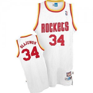 Men's Houston Rockets Hakeem Olajuwon White Swingman Throwback Jersey