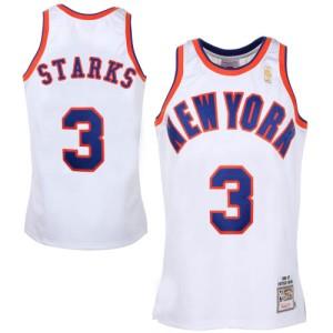 Men's New York Knicks John Starks White Swingman Throwback Jersey